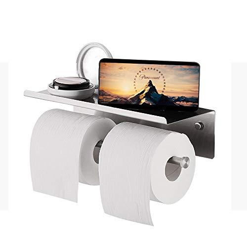 Zodensot Soporte de papel de doble rollo de acero inoxidable montado en la pared Accesorios de baño estante de teléfono estante de almacenamiento de espacio
