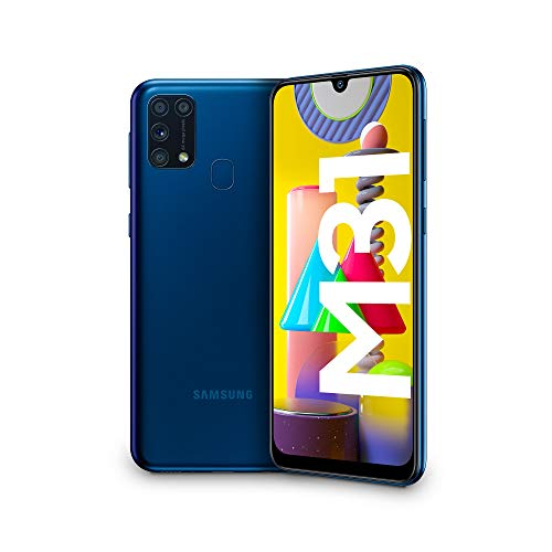"Samsung Galaxy M31, Smartphone, Display 6.4"" Super AMOLED, 4 Fotocamere Posteriori, 64 GB Espandibili, RAM 6GB, Batteria 6000 mAh, 4G, Dual Sim, Android 10, [Versione Italiana], Blu, Esclusiva Amazon"