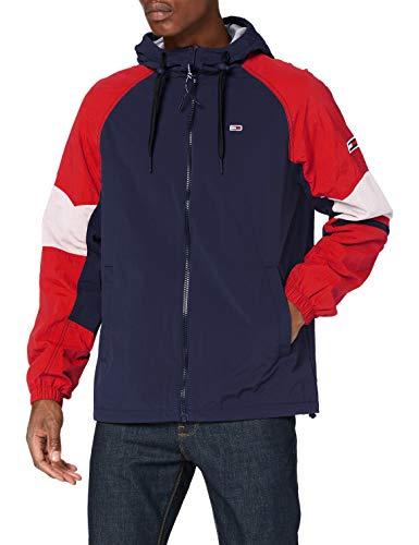Tommy Jeans Herren Tjm Mix Fabric Zipthrough Jacke, Blau (Twilight Navy/Multi), L