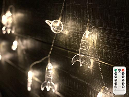 Bellaluces Spaceship, Rocket & Spaceman/Astronaut Fairy Twinkle String Lights & Remote Control-20 LED Children's Room Wall Decor - Nursery-Holiday-Patio-Garden-Christmas-Party Lights Decorations.