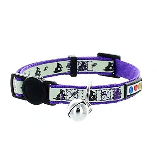 Pawtitas Collar de Gato Brilla en la Oscuridad con Hebilla de Seguridad y Cuello de Gato Campana Desmontable Collar de Gatito - Collar de Gato Morado