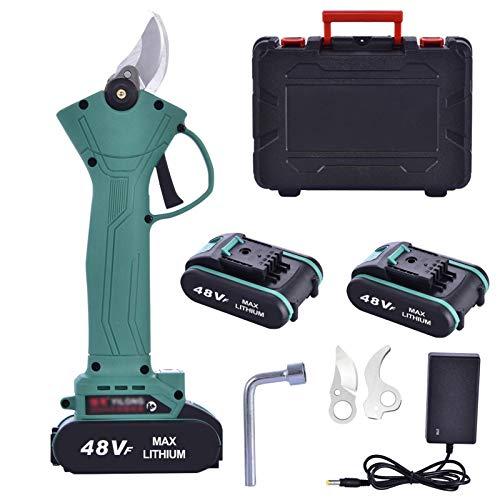 Virtcooy Tijeras de podar eléctricas, 48 V, 30 mm, tijeras eléctricas profesionales sin cable, podadora Secateur y tijeras para poda eléctrica con interruptor de seguridad (2 unidades)