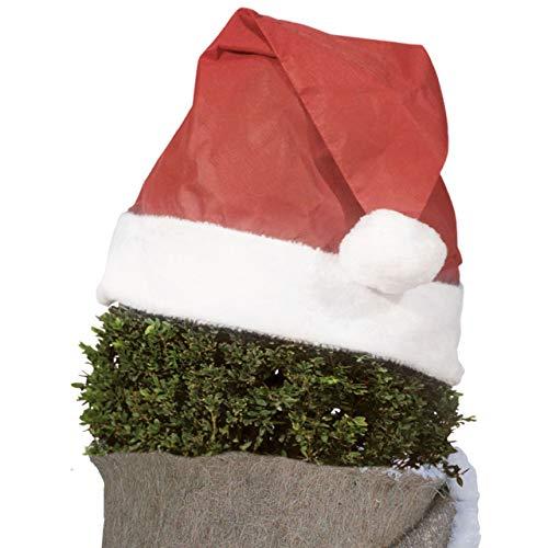 AFP Pflanzen-Weihnachtsmütze, Rot, 42 x 36cm, 10cm Plüschkante - Vliesmütze, Nikolausmütze - Gartendeko & Winterdeko draußen / 2 Jutesäckchen Gratis