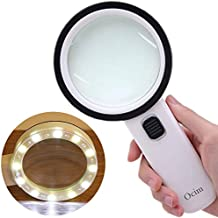 Magnifying Glass with Light,30X High Power Jumbo Lighted Magnifier Lens for Seniors Reading Small Print,Stamps, Map,Inspection, Macular Degeneration