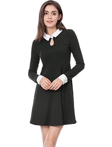Allegra K Vestido Acampanado Collar De Contraste Ojo De Cerradura Delgado para Mujeres