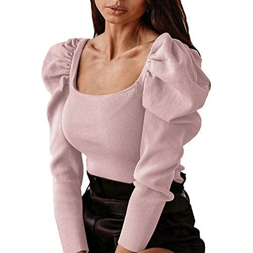 Damenbluse mit langen Ärmeln, quadratisch, leger, elegant, modisch., Braun Large
