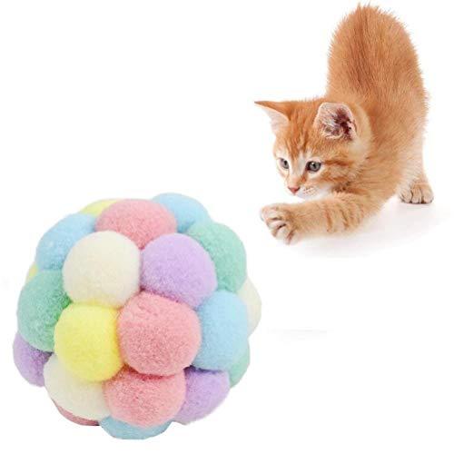 Pelotas elásticas de colores para gatos, suaves y seguras, de felpa, para mascotas, juguetes interactivos