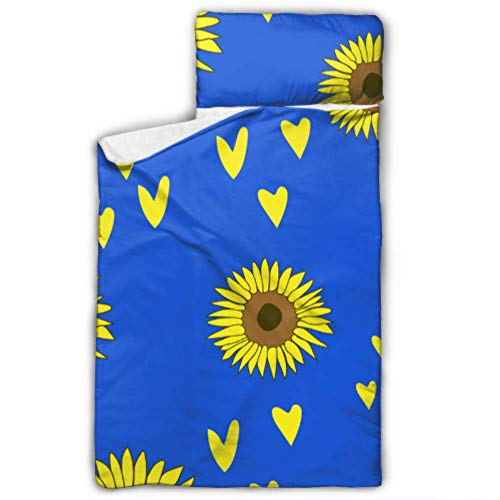 Lunky Flowers Yellow Petal Cot Nap Mats for Daycare Sleeping Bags for Kids Girls with Blanket and Pillow Rollup Design Great for Preschool Daycare Sleepovers 50\