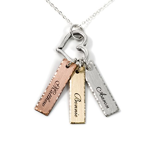 Mixed Tone Triple Bar Sterling Silver Personalized Necklace...