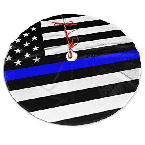 uxingdouriyongpin Dünne Blaue Linie Blue Lives Matter Flag.Png Weihnachtsbaum Rock für Weihnachtsfeier Dekorationen Indoor Outdoor