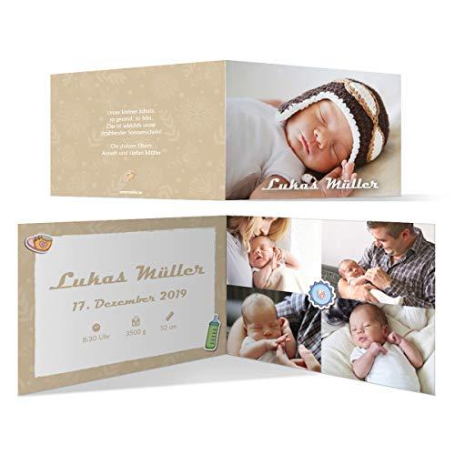 30 x Geburt Danksagungskarten Geburtskarten individuell mit Foto und Text für Mädchen und Jungen - Schnelles Wachstum