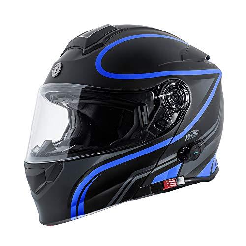TORC Unisex-Adult Flip-Up Motorcycle Helmet (Matte Black Blue, XX-LARGE)