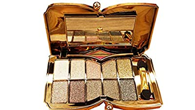 Bernecy Glitter Eyeshadow Palette,10 Colors Sparkle Shimmer Eye Shadow Highly Pigmented Long Lasting Makeup Set Gold (Type 5), Small
