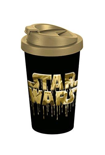 Star Wars Logo 400ml Coffee to go Becher, Kunststoff, Schwarz-Gold, 9 x 9 x 16,5 cm