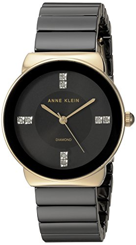 Anne Klein Women's AK/2714BKGB Diamond-Accented Gold-Tone and Black Ceramic Bracelet Watch