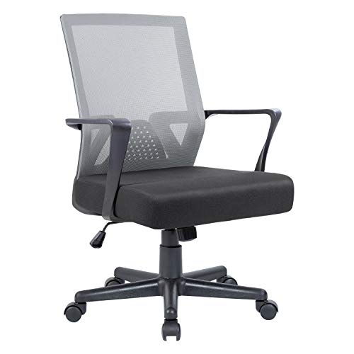 Flamaker Office Chair Mesh Computer Chair Mid Back Swivel Lumbar Support Desk Task Chair Ergonomic Executive Chair with Armrests and Thick Seat (Gray)