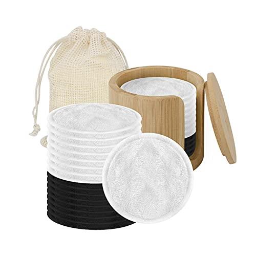 20 piezas de maquillaje removedor de almohadillas reutilizables de bambú de carbón facial cuidado facial almohadillas de limpieza de la piel, limpieza de maquillaje, las almohadillas se pueden usar pa
