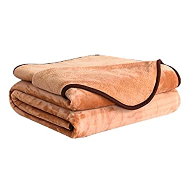 Dream Fly Life Fleece Blanket 380 GSM Anti-static Super Soft Lightweight Summer Cooling Warm Fuzzy Bed Blanket Couch Blanket by (King, Tan)