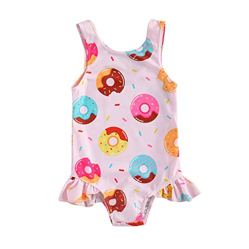 xkwyshop Toddler Baby Girl Swimsuit One Piece Swimwear, Sleeveless Crab/Donut Toddler Baby Girl Bathing Suit Beachwear (Pink + Donut, 2-3T)