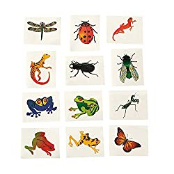 Image: Fun Express Nature Temporary Tattoos | Insects and Reptiles (6 Dozen)