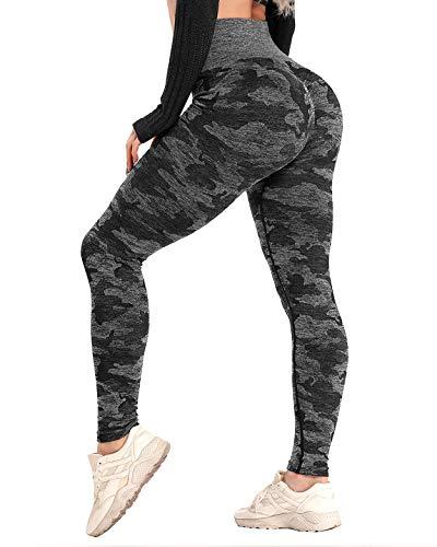 CFR Women High Waist Yoga Pants Butt Lifting Camo Workout Seamless Leggings #1 Black M