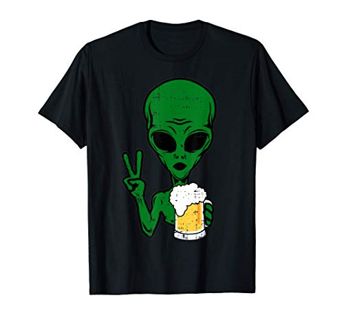 Area-51 Alien Beer Peace Sign Lazy Drinking Halloween Gift T-Shirt