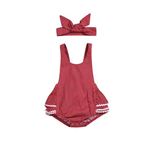 Body de Lunares para bebé niña con Diadema, Bodys sin Mangas de Encaje Verano Ropa Conjuntos Ropa Bautizo Bebes niñas Bodies Vestido Mono Rojo 6-12 Meses