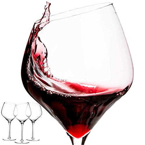 devaso Wine glasses Slanted top Set of 3 Lead Free Premium Crystal 19 Oz Modern and Unique Gift for Wine Lovers