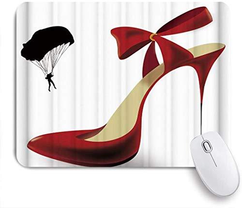 Dekoratives Gaming-Mauspad,Kreative Sex Frau Red High Heels Fallschirm,Bürocomputer-Mausmatte mit rutschfester Gummibasis