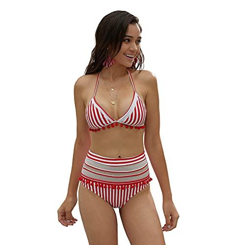 IUYJVR Badeanzug Pom Pom Mesh-Einsatz Hoher Taille Bikini Triangel Sexy Tankini-Rot Small