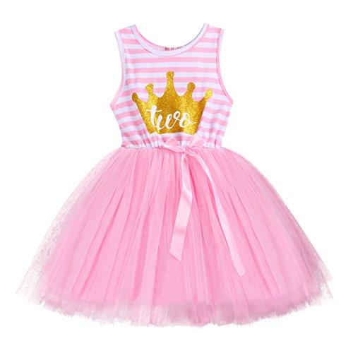 FYMNSI Kleinkinder Baby Mädchen 1. 2. 3. Geburtstag Party Kleid Gestreift Tüllkleid Ärmellos...