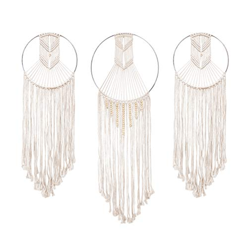 23 Bees, Macrame Wall Hanging Dream Catcher, Large Handmade Crochet Decor for Bedroom, Big Woven Boho Tapestry Dreamcatcher, Chic Rope Art Decorations for Room (Arrows 3pk)