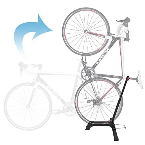 Qualward Bicycle Stand Vertical Bike Rack Floor Adjustable Upright Design, Space Saving for Living Room, Bedroom and Garage