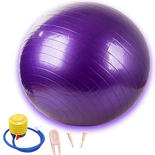 Pelota de fitness de gimnasia para rehabilitación, pelota para yoga, pilates de 65 cm + bomba (morado)