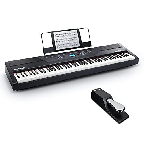 Alesis Recital PRO - Digital Piano/Keyboard mit 88 Hammer Action Keys, 12 Premium Klängen, Kopfhörerausgang und leistungsstarke Schulungsfunktionen + M-Audio SP-2 Universal Sustain Pedal/Dämpferpedal