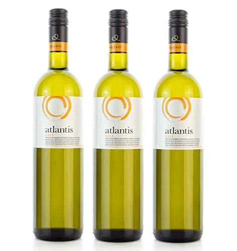 3x 750ml Atlantis Weißwein trocken knackig frisch Santorini Argyros griechischer Weiß Wein Set + 10ml Olivenöl von Kreta zum Test