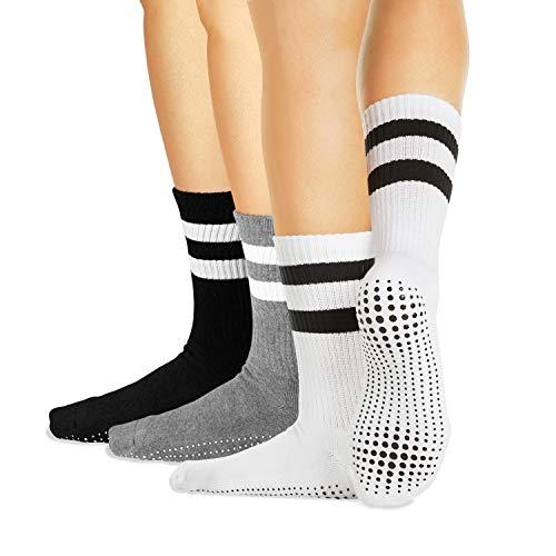 LA Active Calcetines Antideslizantes - 3 Pares - Para Yoga Pilates Ballet Barre Mujer Hombre Hospital - Crew (Blanco/Gris/Negro, M)