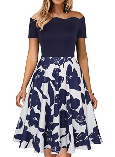Fantaist Fit and Flare Dress,Floral Midi Casual Aline Off Shoulder Dresses for Women Party Wedding (XL, FT655-Navy Fl-pt)