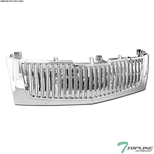 Topline Autopart Chrome Vertical Front Hood Bumper Grill Grille ABS For 02-05 06 Escalade