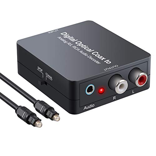 eSynic Digital zu Analog Audio Decoder Konverter Unterstützt Dolby 5.1 DTS Digital Toslink Koaxial zu 2.0CH L/R Analog Stereo Audio mit 1m 4.0 Optisch Kabel und USB Stromkabel für PS3 DVD- Schwarz