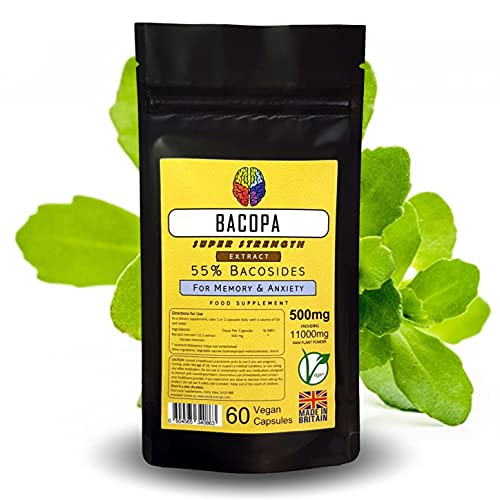 Bacopa Monnieri Extract by Soul Juice | 60x 500mg Vegan Capsules (55% Bacosides) 22:1 Eq. 11000mg | Memory & Brain Supplement (4)