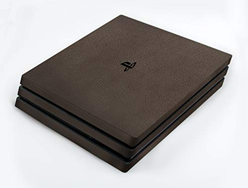 atFoliX Skin compatible avec Sony PlayStation 4 Pro PS4 Pro, Sticker Autocollant (FX-Leather-Brown), Structure en cuir fin