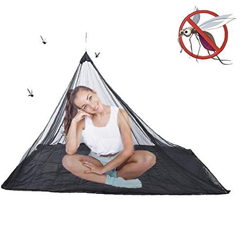 1pc Mosquito Net Camping Insectos Ligero Y Compacto Al Aire Libre del Insecto Red con Equipaje Bolso Ajusta para La Supervivencia Sacos De Dormir Tiendas De Campaña Camas (Negro)