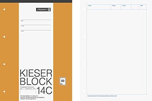 Brunnen 1042924 KIESER-Block Lineatur 20 (A4, 50 Blatt, blanko, 80 g/m², gelocht)
