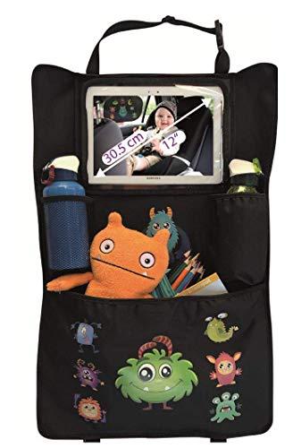 """HECKBO® Organizador para asiento trasero de coche con bolsillo ajustable para tabletas de hasta 20\"""" con lámina táctil, dibujos de monstruos, universal, bolsillo térmico + bolsillo con malla elástica"""