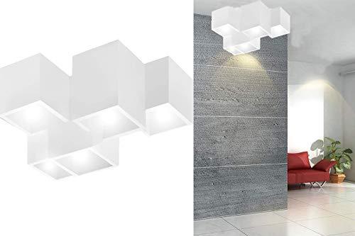 Plafoniera gesso lampada da interno applique da soffitto 5 quadrati gu10 GS-5029