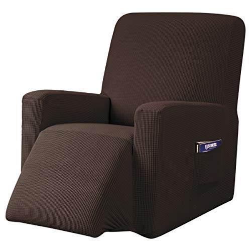 subrtex Recliner Chair Cover Stretch Recliner Slipcover Lazy Boy Covers for Furniture Protector Rocker Sofa Cover with Side Pocket (Recliner, Choco) -  SBTZHS003