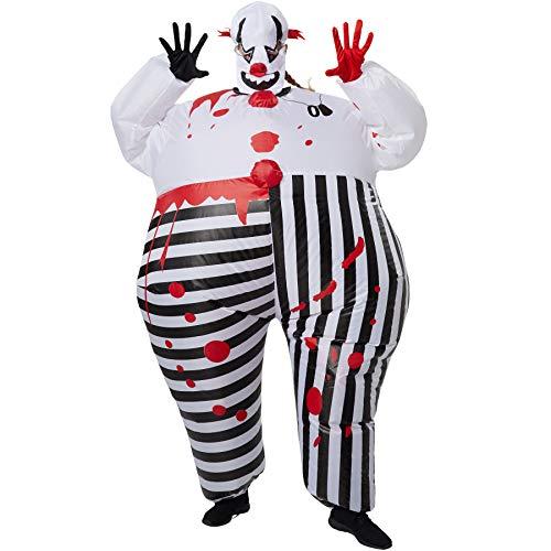 dressforfun 302357 - Aufblasbares Unisex Kostüm Horror-Clown, Anzug mit Blutflecken, inkl. Handschuhen und Maske