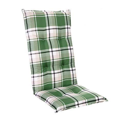 Homeoutfit24 Sun Garden 1-Stück Gartenstuhl-Auflage Prato in Grün, gepolstertes Sitzkissen für Hochlehner-Gartenmöbel, 120 x 50 x 7 cm