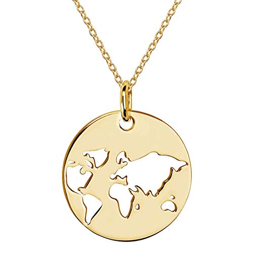 MATERIA Weltkugel Kettenanhänger Gold Damen - Weltkartenkette Kette Welt vergoldet in Schmuck Etui 42-47 cm KA-36